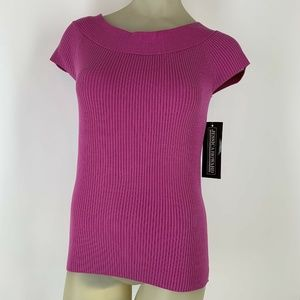 Jessica Howard ribbed sweater 12 Cap Sleeve New